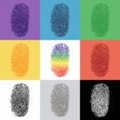 Set of colorful fingerprint — Stock Vector