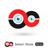 Infinity Vision ( Infinity sign and eyeball ) — Stock Vector