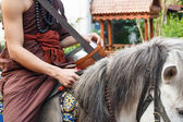 Buddhist monk ride horse — Stockfoto