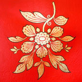 Thai painting on wall in thai temple (flower shape) at Loei ,Thailand — Stock Photo
