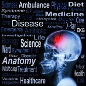 X-ray skull and Medical text — Stock Photo