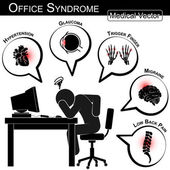 Office Syndrome ( Hypertension , Glaucoma , Trigger finger , Migraine , Low back pain , Gallstone , Cystitis , Stress , Insomnia , Peptic ulcer , carpal tunnel syndrome , etc ) — Stock Vector