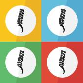 Spine icon ( flat design ) on different color background ( lateral view ) Use for spine disease ( spondylosis , spondylolisthesis , scoliosis , spondylolysis , disc herniation , fracture , etc ) — Stock Vector