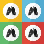 Lung icon ( flat design ) on different color background ( front view ) Use for lung disease ( Tuberculosis , Pneumonia , Lung cancer , Bronchitis , MERS virus , etc ) — Stock Vector