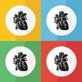 Heart icon ( flat design ) on different color background ( front view ) Use for heart disease ( Ischemic heart disease , Myocardial infarction , Coronary artery disease , Valvular heart disease ,etc ) — Stock Vector