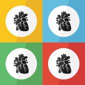 Heart icon ( flat design ) on different color background ( front view ) Use for heart disease ( Ischemic heart disease , Myocardial infarction , Coronary artery disease , Valvular heart disease ,etc ) — Vetor de Stock