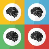 Brain icon ( flat design ) on different color background ( lateral view ) Use for Brain disease ( ischemic stroke , hemorrhagic stroke , brain tumor , etc ) — Stock Vector