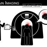 Brain Imaging .  Patient lie on CT scanner for diagnosis of brain disease ( Hemorrhagic or Ischemic stroke , Brain tumor , Brain abscess , etc ) ( Black & white  Flat design )( health care concept ) — Stock Vector #77161887