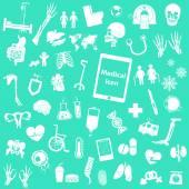 Set medical icon ( leg , hand , test tube , chest , drug , sperm , iv fluid , x ray , ct scan , brain , heart , kidney , intestine , uterus , dna , lung , eye , skull , pelvis , arm , spine , bone ) — Stock Vector