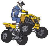 Rider on the yellow ATV — Cтоковый вектор