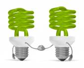Green spiral light bulb characters handshaking isolated — Stock Photo