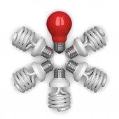 Red tungsten light bulb among white spir — Stock Photo