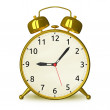 Gold alarm clock isolated — Stock Photo #67254267