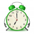 Green alarm clock character — Stock Photo #67254443