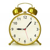 Gold alarm clock isolated — Stock Photo