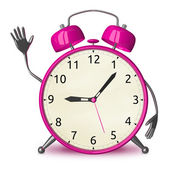 Pink alarm clock waving hand — Stock Photo
