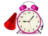 Pink alarm clock with megaphone — Stock Photo
