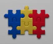 Romania flag of puzzles — Stock Photo