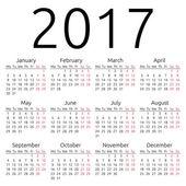 Simple vector calendar 2017 — Vettoriale Stock