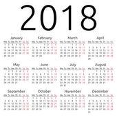 Simple vector calendar 2018 — Stockvektor