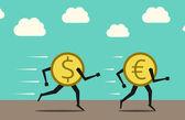 Dollar overtaking euro — Stock Vector