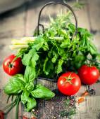Herbs with Tomatoes — Stock Photo