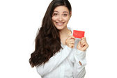 Showing woman presenting blank gift card sign — Stock Photo