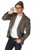 Young man with jacket over white background — Stock Photo