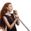 Singing woman with retro microphone. — Stock Photo #59118643