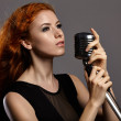 Singing woman with retro microphone. — Stock Photo #59118659