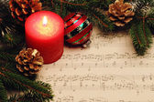 Music books, candle, Christmas toys — ストック写真