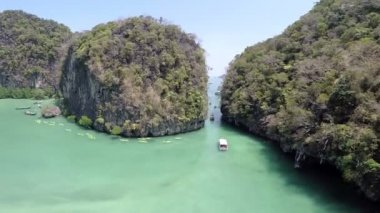 Aerial view of tropical island,Koh Hong island,Krabi,Thailand — 图库视频影像