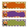 Halloween Banners sets. orange green and purple plaid background,with witch shoe, grave and cemetery — Stock Photo #52999863
