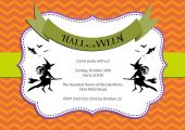Halloween Party invitation. dark orange chevron background with witch and bats. — Stock Vector
