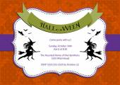 Halloween Party invitation. dark orange polka dot background with witch and bats — Stock Vector