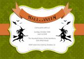 Halloween Party invitation. green polka dot background with witch and bats. — Stock Vector