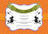 Halloween Party invitation. light orange chevron background with witch and bats — Stock Vector