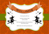 Halloween Party invitation. orange polka dot background with witch and bats — Stock Vector