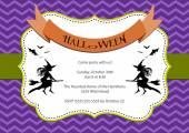 Halloween Party invitation. purple chevron background with witch and bats — Stock Vector