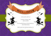 Halloween Party invitation. purple polka dot background with witch and bats — Stock Vector