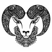 Vector Decorative Sheep with Patterned Horns — Stock Vector