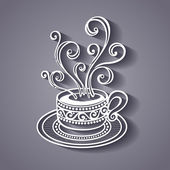 Decorative Cup of Coffee with Steam — Stockvektor