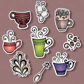 Vector Set of Stickers with Ornamental Coffee Cups — Stock Vector