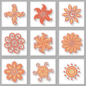 Vector Set of Ornamental Circles with Long Shadow — Stock vektor