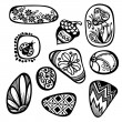 Vector Set of Ornate Pebbles — Stock Vector #54970303