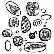 Vector Set of Ornate Pebbles — Stock Vector #54970315