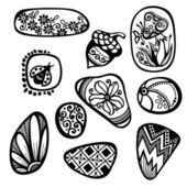 Vector Set of Ornate Pebbles — Stock Vector