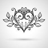 Coeur floral — Vecteur