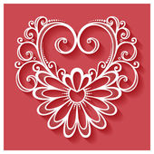 Deco Floral Heart on Red Background — Wektor stockowy