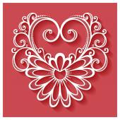 Deco Floral Heart on Red Background — Stock Vector